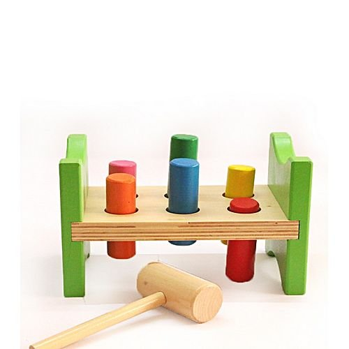Toyshine Classic Wooden Pounding Bench Toy for Toddlers, Pound & Tap w/Wood Hammer & Colored Pegs | Developmental & Sensory Toy for Boys & Girls
