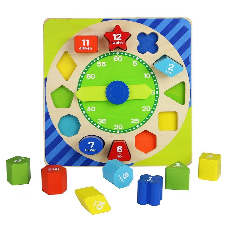 Toyshine Wooden Shape Sorting Blocks Teaching Clock with Geometry Numbers