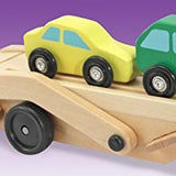 Toyshine Carrier Truck and Cars Wooden Toy Set with 1 Truck and 4 Cars, Assorted Color
