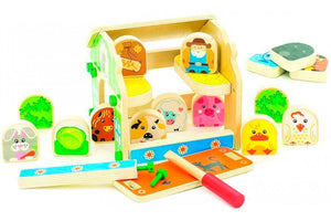 Toyshine Wooden Farmer's House Doll House Toy with Animals and Other Playing Accessories