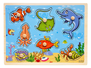 Toyshine Wooden Puzzles for Toddlers Toddler Puzzles for Boys Girls Wooden peg Puzzles for Kids Sea Animals Set Jumbo knobs Puzzle Gift Box