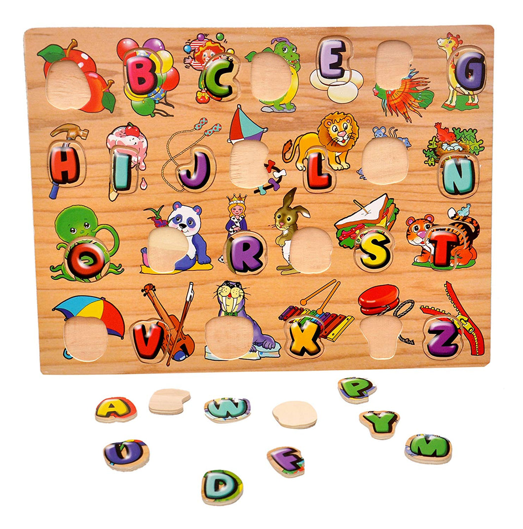 Toyshine Premium Wooden English Capital Letters Puzzle Toy with Pictures, Educational and Learning Toy - ABC