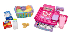 Toyshine Supermarket Shopping Cash Register Play Set, with Barcode Scanner, Pink - 4