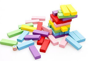 Toyshine Wooden 51 Colored Wooden Building Block Dominoes , Tumbling Tower Game (MOQ: 6Pcs)