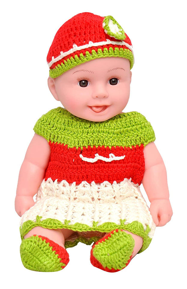 Toyshine Winter 14 inches Baby Doll with Realistic Design, Movable Body Parts, White Red
