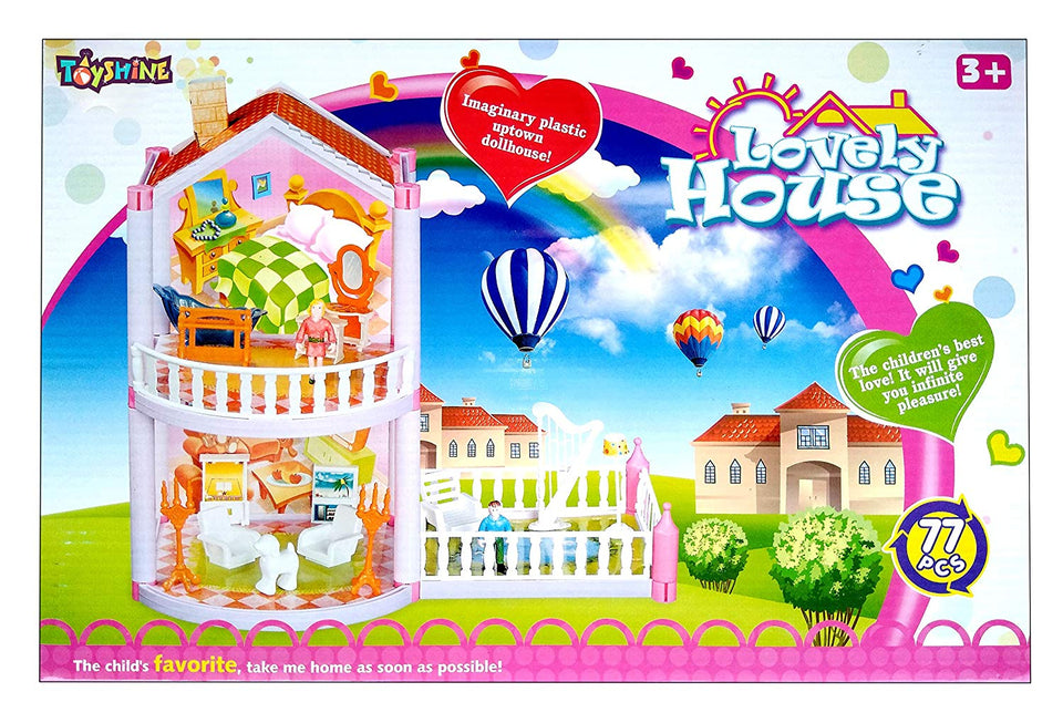 Toyshine DIY 77 Pcs Doll House Creative Edition, Accessories Included
