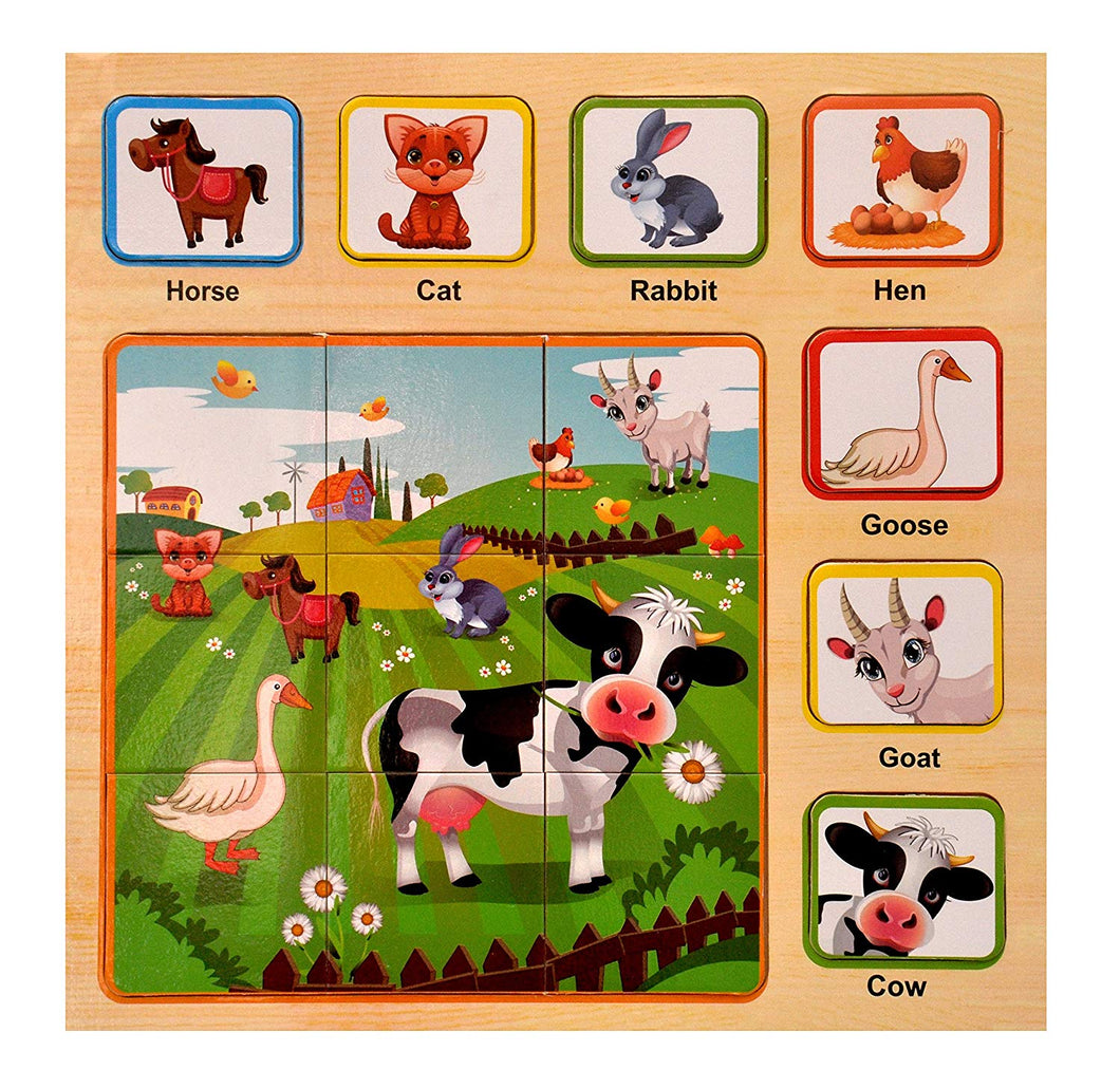Toyshine Wooden Puzzle Toy, Educational and Learning Toy - Animals Puzzle