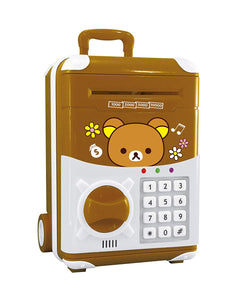 Toyshine Money Safe Kids Piggy Bank with Electronic Lock, Briefcase Model, Brown