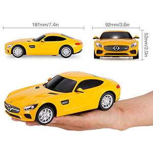 Rastar 1:24 Mercedes AMG GT Remote Control Car, with Lights, Yellow, TOYSHINE - 62