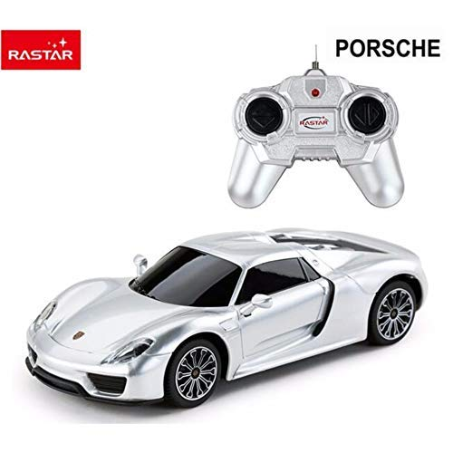 Rastar 1:24 Porsche 918 Spyder Remote Control Car, with Lights, Silver, TOYSHINE - 22