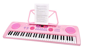 Toyshine 61 Keys Piano with DC Output, Mobile Charging, USB and Microphone Included, Pink by Toyshine