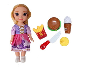 Toyshine 9 Inches Realistic Princess Doll Girl with Fast Food Set, Color May Vary