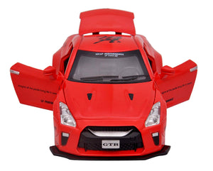 Toyshine 1:32 Metal Nissan GTR Diecast Car, Opening Doors, Vehicle Toy Car, 6 Inches, Music and Lights, Assorted Color