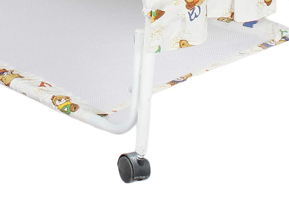 Toyshine Teddy Face Baby Craddle Cot Crib with Rocking Function, Assorted Color
