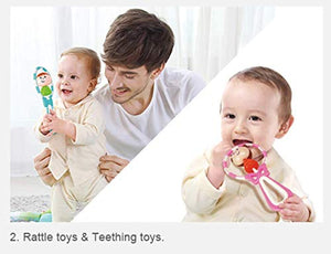 Toyshine Hand Baby Teether Cum Rattle Toy with Moving Toy, Assorted Design