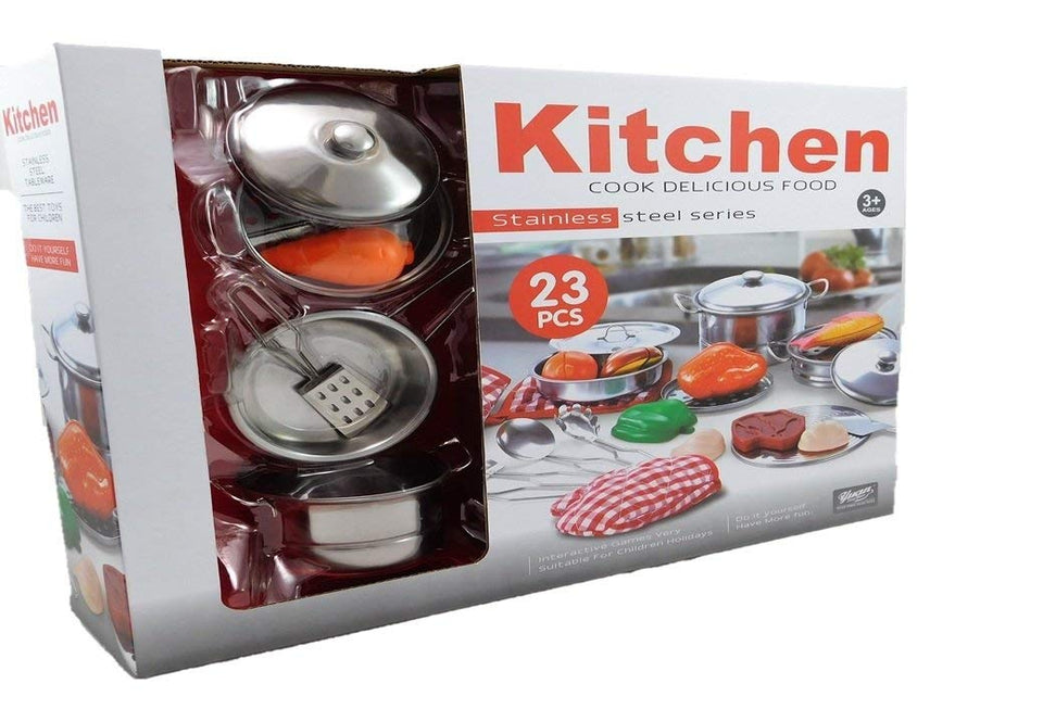 Toyshine 23 Pieces Toy Stainless Steel Kitchen Set Pots Pans And Acces