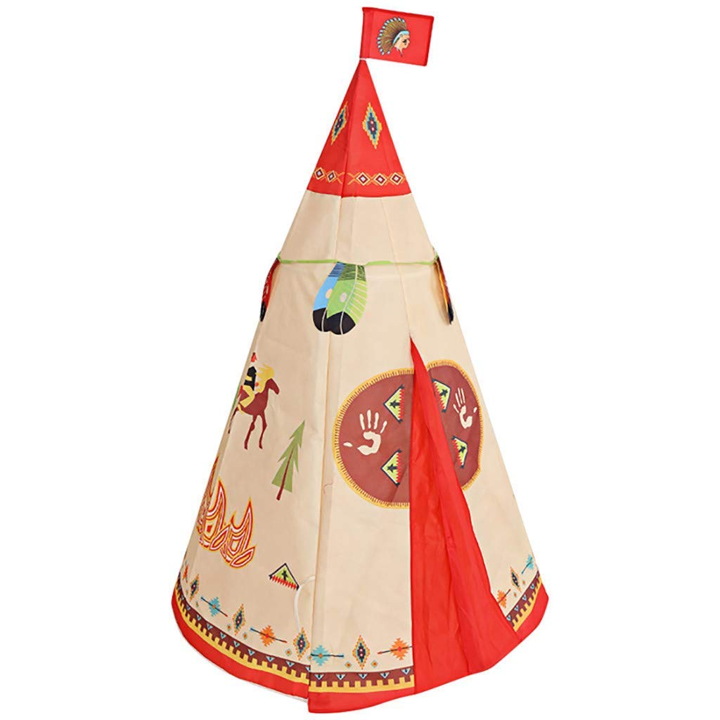 Toyshine Lightweight Folding Kids Indian Teepee Tent Play House Indoor Outdoor Garden Beach Toys
