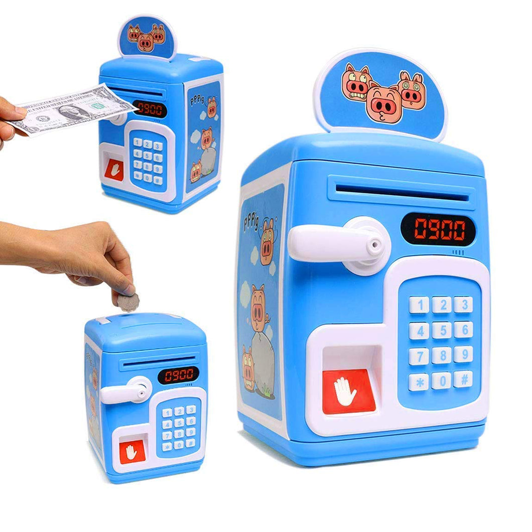 Toyshine Money Safe Kids with Finger Print Sensor Piggy Savings Bank with Electronic Lock, Blue