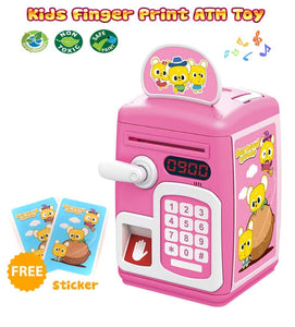 Toyshine Money Safe Kids with Finger Print Sensor Piggy Savings Bank with Electronic Lock, Pink