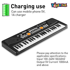 Toyshine Kids Piano Keyboard 49 Keys- Multi-Function Portable Piano Keyboard Electronic Organ with Charging Function