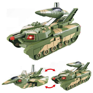 Toyshine 2 in 1 Transforming Tank Aircraft Convertible Tank & Jet Fighter Airplane Toy with Lights and Shooting Music