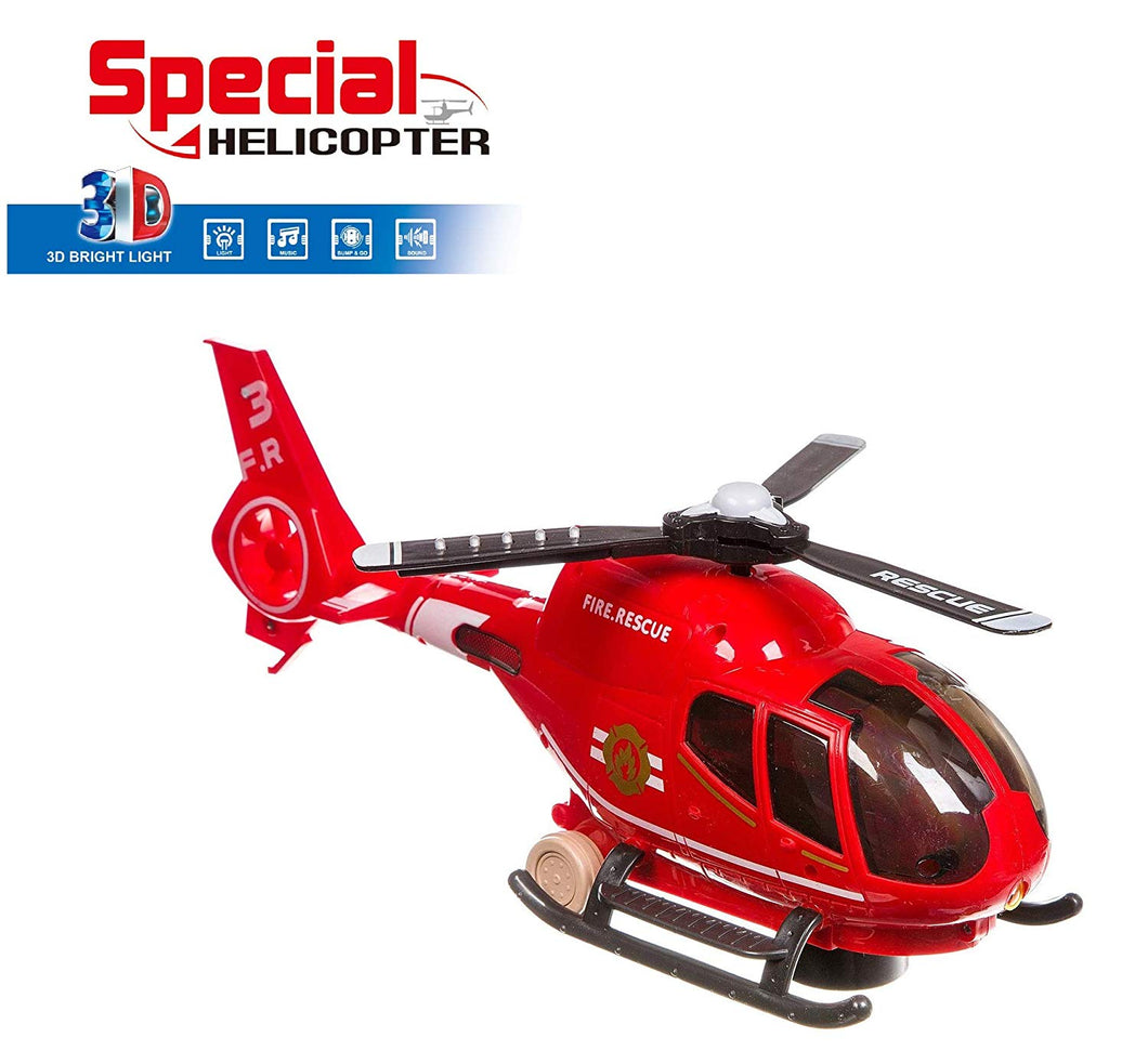 Toyshine Bright Light Special Helicopter Toy Bump and Go with Remote Control Functions, Moves on Ground, Assorted Color