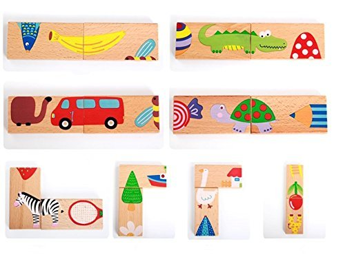 Toyshine 28 Pcs Printed Educational Wooden Toy Domino Animal Puzzles Kids Game Gift