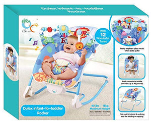 Toyshine Infant to Toddler Deluxe Baby Rocker Vibrating Chair, Blue