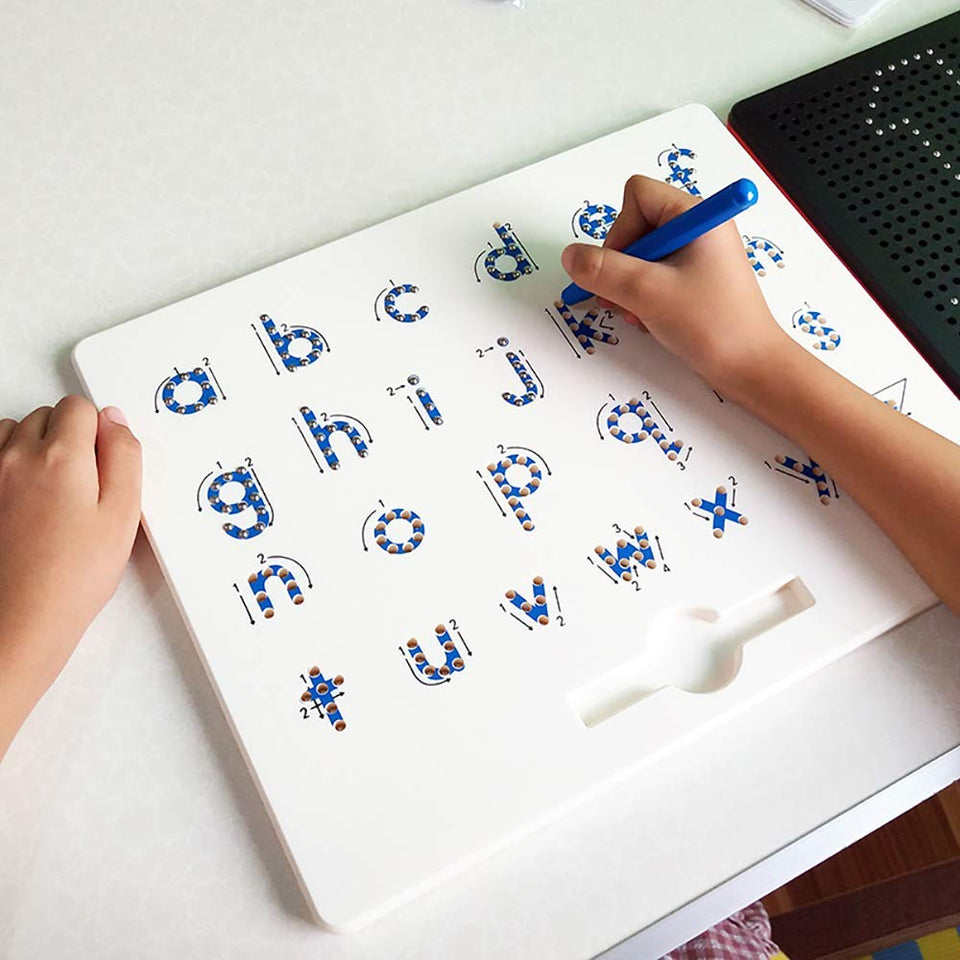 Toyshine Magnetic Drawing Board - STEM Educational Learning ABC Letters Kids Drawing Board - Writing Board for Kids Erasable - Magnetic Doodle Board Includes A Pen (Small ABC)