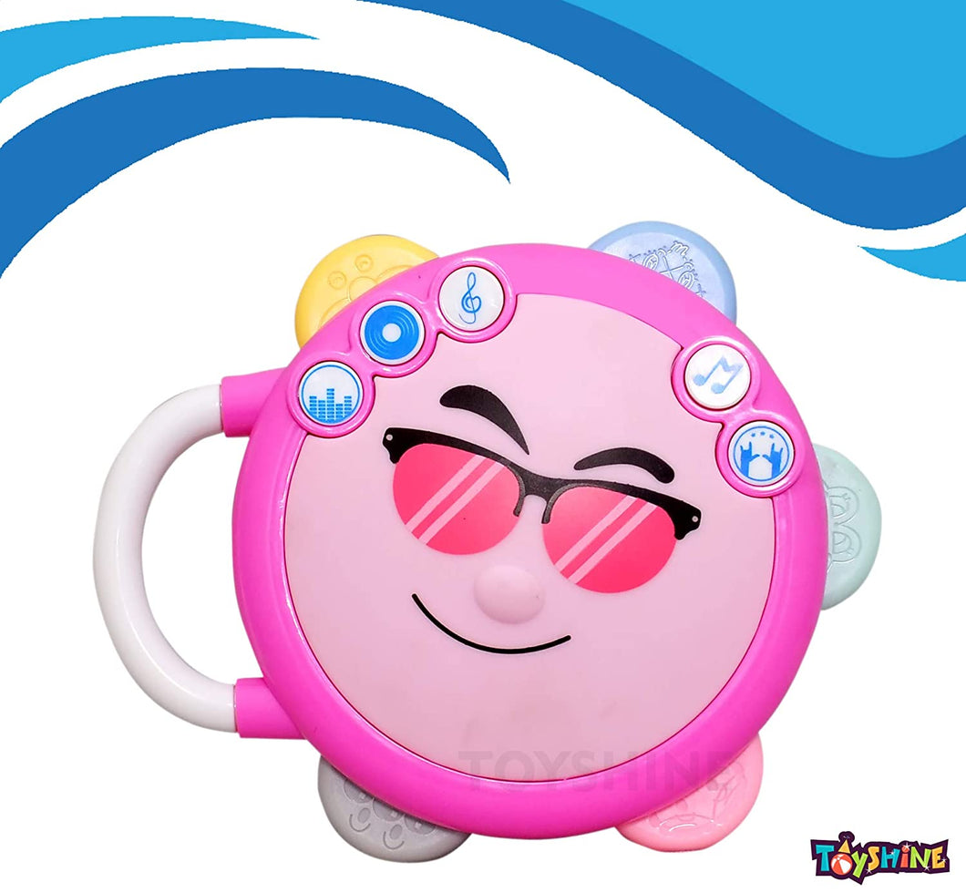 Toyshine Smiley Flash Drum with 3D Lights and Music, Pink