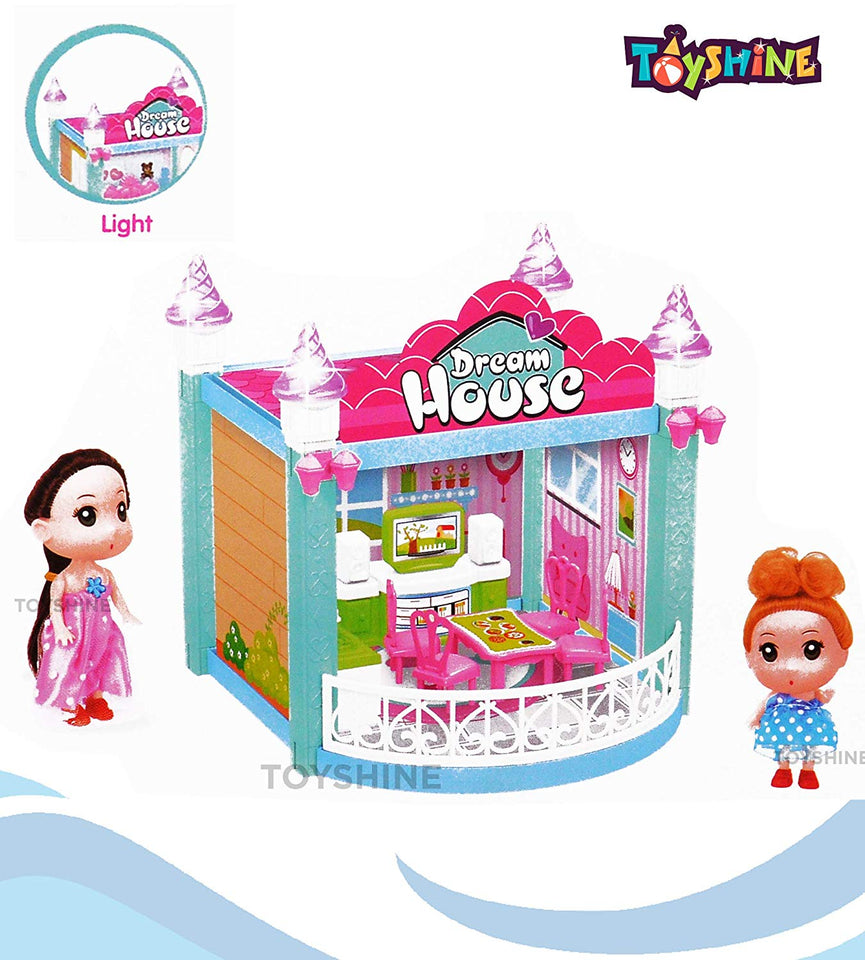 Toyshine 42 Pcs Dream House Doll House with Light with 2 dolls ( MOQ: 6Pcs)