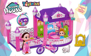 Toyshine Funny House Doll House with Cycle 44 Pcs Music and Lights 2 Dolls