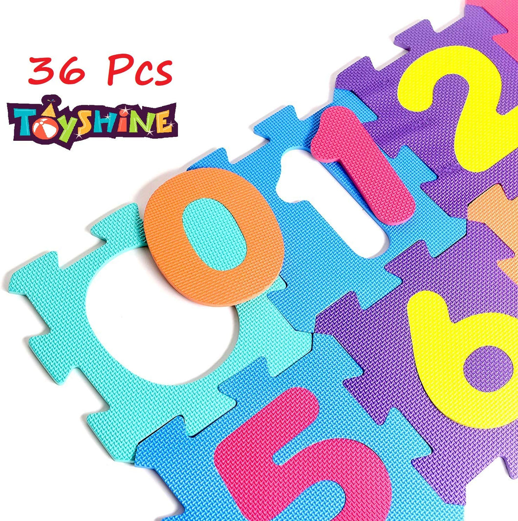 Toyshine 36 Interlocking Foam Numbers 5.5X5.5 Inches Premium Thick Non-Toxic Kids & Toddlers Floor Puzzle Foam Play Mat - Waterproof EVA Foam Tiles Baby Mat for Crawling