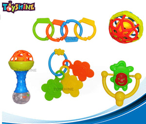 Toyshine Colorful Non Toxic BPA Free 5 Rattles and Teethers Toys Set for Babies Infants