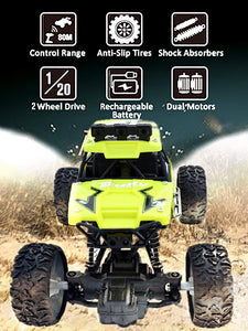 Toyshine RC Cars Off-Road Rock Crawler Truck Vehicle 2.4Ghz 2WD 1: 20 Radio Remote Control Cars Electric Fast Racing Buggy Hobby Car, Yellow