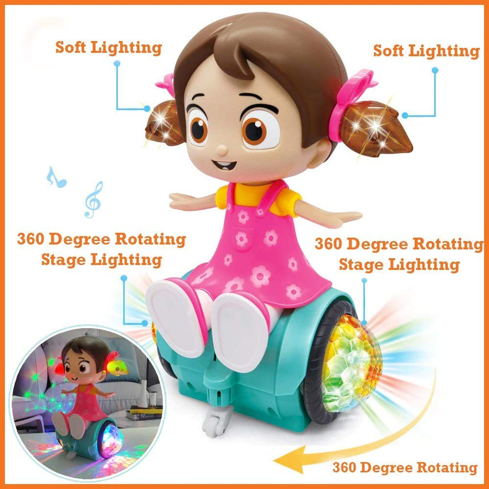 Toyshine 360 Degree Rotating Musical Dancing Girl Toy with Flashing Lights & Bump and Go Action, Activity Play Center Toy for Kid Early Learning Educational Toys for Toddlers…