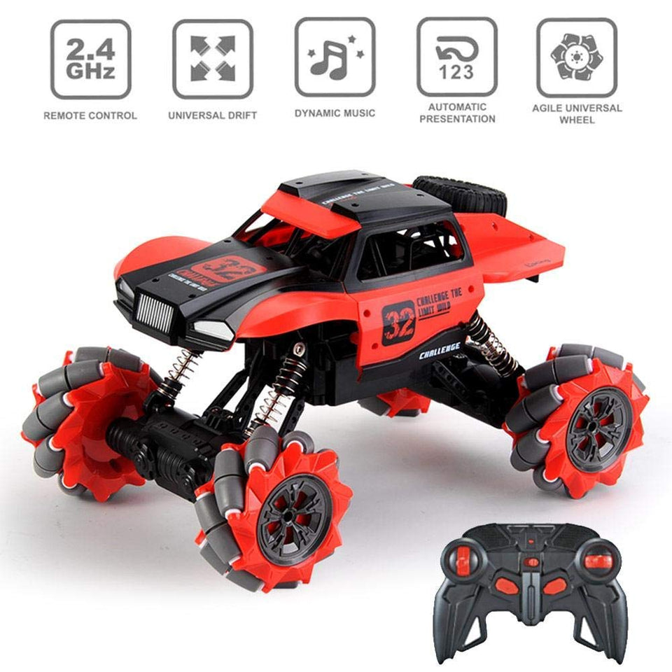 Toyshine RC Drift Cars Radio Remote Control 360°Rotation Stunt Racing Truck 2.4Ghz RED