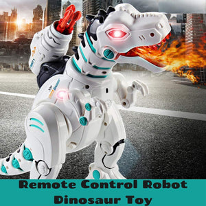Toyshine RC Robot Dinosaur Intelligent Remote Control Walking Dinosaur Toy Interactive Educational Dancing Singing Missiles Launching Water Mist Spraying Story Telling Learning Dino Robot T-Rex