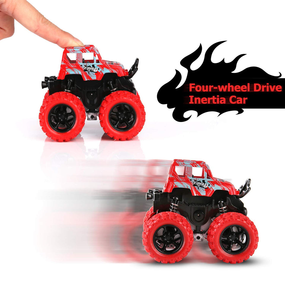 Toyshine Monster Truck Cars,Push and Go Toy Trucks Friction Powered Cars 4 Wheel Drive Vehicles for Toddlers Children Boys Girls Kids Gift-4PCS (4 Wheel Drive Vehicles)