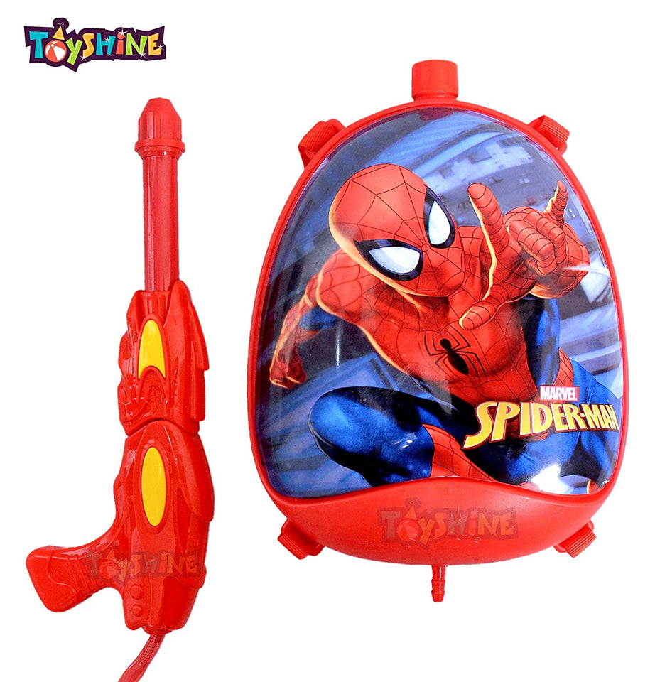Toyshine Holi Water Gun with High Pressure, Back Holding Tank, 3.0 L, Spider Oval Red