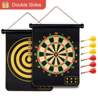 Toyshine Magnetic Dartboard Board Game Set -Two Sided Bullseye Dartboard,17 Inch Dart Board with 6 pcs Safe Darts (SSTP)