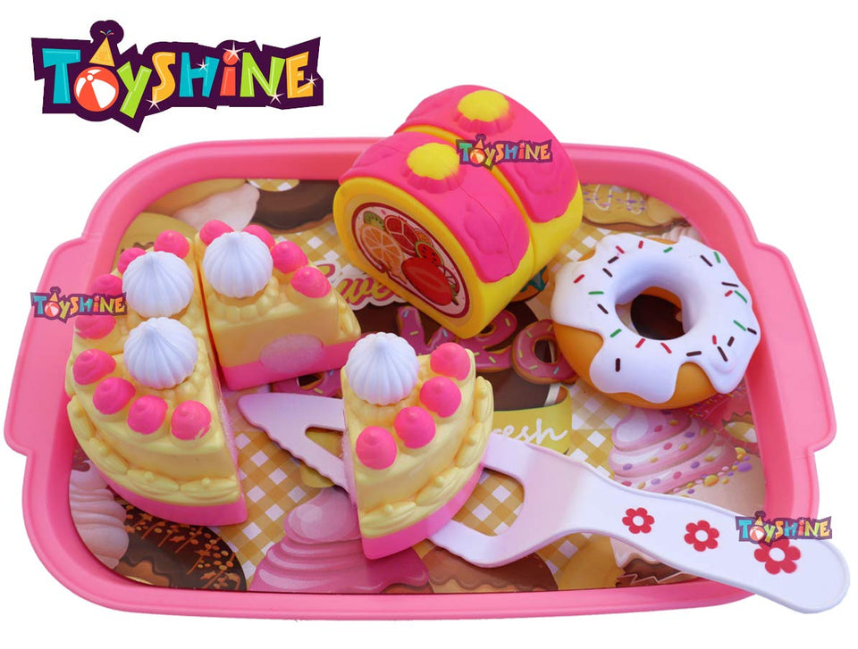 Toyshine Dessert Party Play Fast Food Set 18 Piece Pretend Play Ice Cream Cake Donut Food Toy | Best Gifts Food Playset for Boys Girls Kids