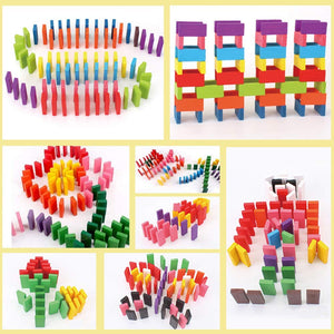 Toyshine 360 pcs 12 Color Wooden Dominos Blocks Set, Kids Game Educational Play Toy, Domino Racing Toy Game
