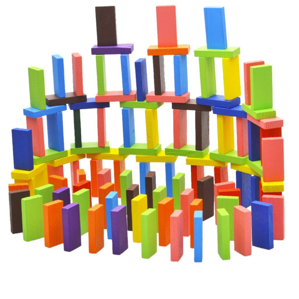 Toyshine 240 pcs 12 Color Wooden Dominos Blocks Set, Kids Game Educational Play Toy, Domino Racing Toy Game