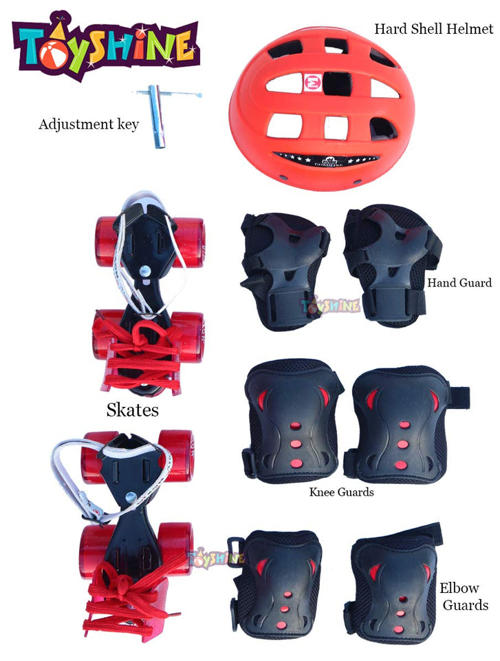 Toyshine Adjustable Baby Skates Combo | Skates, Helmet, Knee-Elbow-Wrist Guard | Age 4 to 11 Years