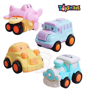 Toyshine Set of 4 Unbreakable Friction Powered Automobile Car Helicopter Bus Train Toys for Kids