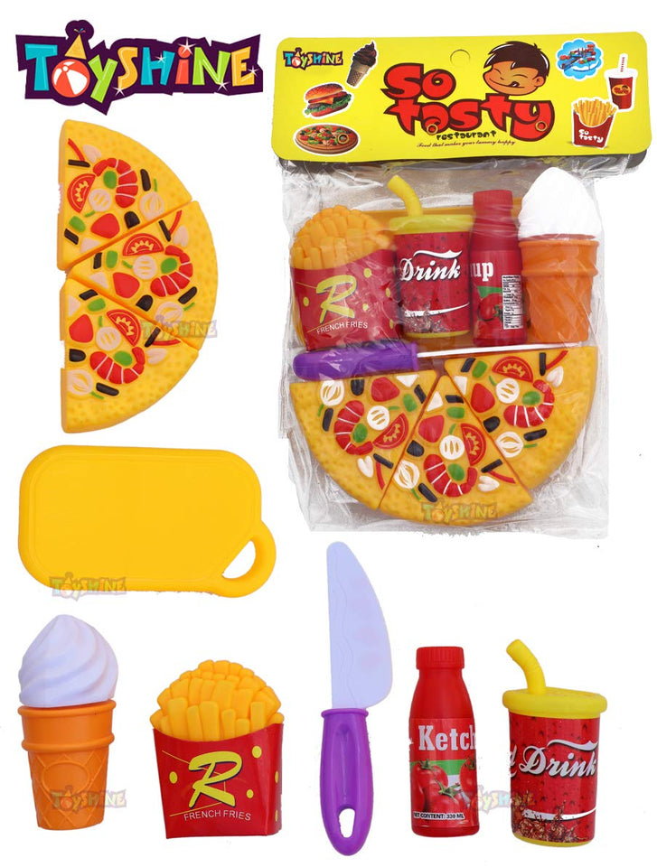 Toyshine Pizza Party Fast Food Pretend Cooking & Cutting Play Set Toy for Kids (Multi-Color)