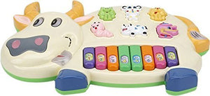 Toyshine Cow Musical Piano with 3 Modes Animal Sounds, Flashing Lights & Wonderful Music
