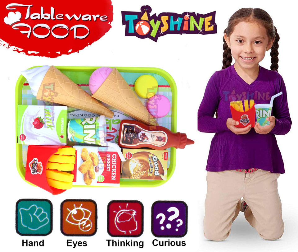 Toyshine Ice Cream Fast Food Party Play Fast Food Set 16 Piece Pretend Play Food Toy | Best Gifts Food Playset for Boys Girls Kids