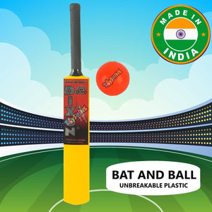 Toyshine Bat and Ball Cricket Sports Combo, ABS Unbreakable Plastic, Made in India